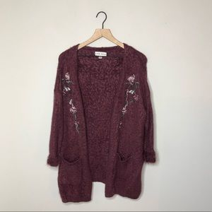 Knox Rose Floral Embroidered Open Front Cardigan